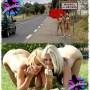 Elysa e uma amiga peladinhas em uma estrada